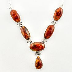 56.79cts natural brown pietersite (african) 925 sterling silver necklace r27538