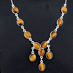 27.70cts natural brown tiger's eye 925 sterling silver necklace jewelry r94088