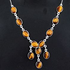 29.75cts natural brown tiger's eye 925 sterling silver necklace jewelry r94090
