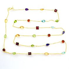 34.94cts natural citrine cornelian garnet silver 14k gold chain necklace r72997