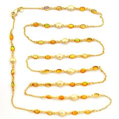 19.10cts natural ethiopian opal 925 silver 14k gold chain necklace r31452
