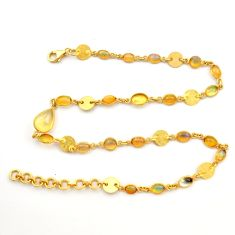 20.69cts natural ethiopian opal 925 silver 14k gold chain necklace r31455