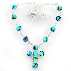 7.98cts natural green abalone paua seashell 925 silver cross necklace r71990