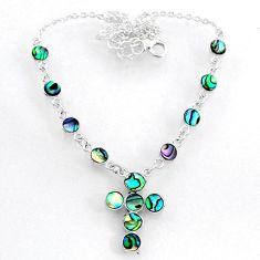 8.23cts natural green abalone paua seashell 925 silver cross necklace r71994