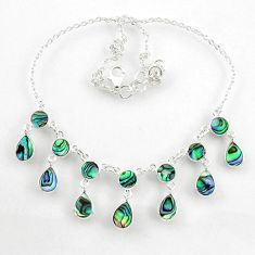 17.75cts natural green abalone paua seashell 925 sterling silver necklace r60768
