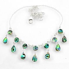16.00cts natural green abalone paua seashell 925 sterling silver necklace r60769