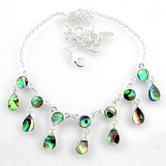 17.80cts natural green abalone paua seashell 925 sterling silver necklace r60771