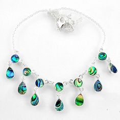 16.25cts natural green abalone paua seashell 925 sterling silver necklace r60772