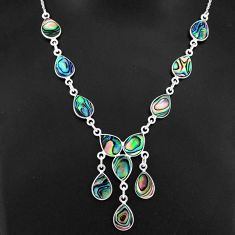 21.20cts natural green abalone paua seashell 925 sterling silver necklace r94101
