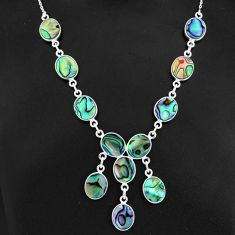 29.85cts natural green abalone paua seashell 925 sterling silver necklace r94102