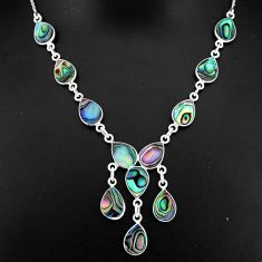21.72cts natural green abalone paua seashell 925 sterling silver necklace r94103