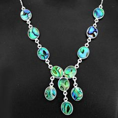 29.28cts natural green abalone paua seashell 925 sterling silver necklace r94105
