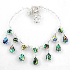 15.26cts natural green abalone paua seashell pear shape silver necklace r60770