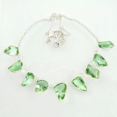60.00cts natural green amethyst 925 sterling silver necklace jewelry d47370