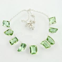 63.48cts natural green amethyst 925 sterling silver necklace jewelry d47371