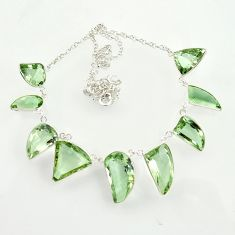 63.89cts natural green amethyst 925 sterling silver necklace jewelry d47372