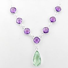 22.22cts natural green amethyst amethyst 925 sterling silver necklace t16126
