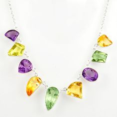 52.95cts natural green amethyst citrine 925 sterling silver necklace r27598
