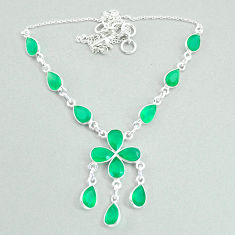 19.99cts natural green chalcedony 925 silver necklace jewelry t34114