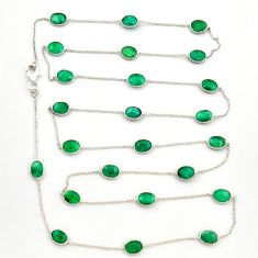 33.21cts natural green emerald 925 sterling silver chain necklace r31488