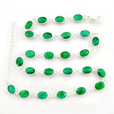 37.76cts natural green emerald 925 sterling silver chain necklace r38703