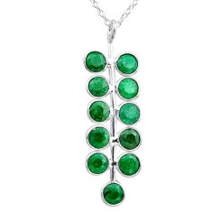 6.39cts natural green emerald 925 sterling silver necklace jewelry t12383