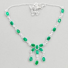 17.55cts natural green emerald 925 sterling silver necklace jewelry t45264