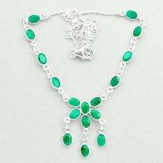 16.20cts natural green emerald 925 sterling silver necklace jewelry t50301
