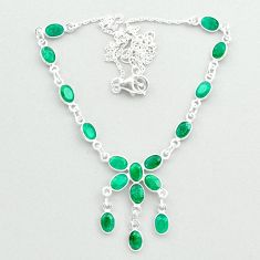 16.73cts natural green emerald 925 sterling silver necklace jewelry t50302
