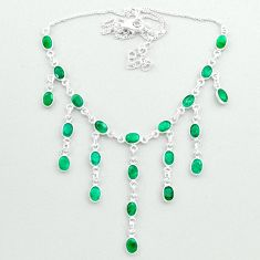 22.57cts natural green emerald 925 sterling silver necklace jewelry t50304
