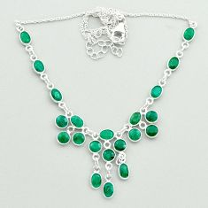 23.13cts natural green emerald 925 sterling silver necklace jewelry t50332