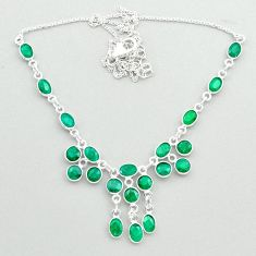 22.48cts natural green emerald 925 sterling silver necklace jewelry t50352