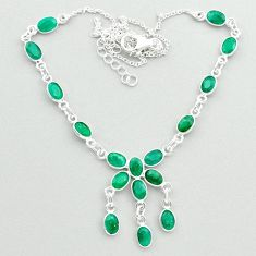19.66cts natural green emerald 925 sterling silver necklace jewelry t50355