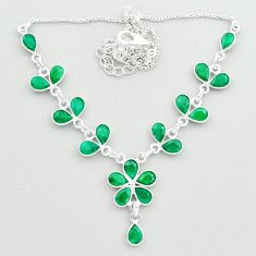 19.24cts natural green emerald 925 sterling silver necklace jewelry t50364