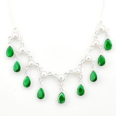 23.61cts natural green emerald pear pearl 925 sterling silver necklace r77411