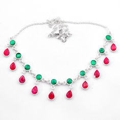 22.09cts natural green emerald red ruby 925 sterling silver necklace t40585