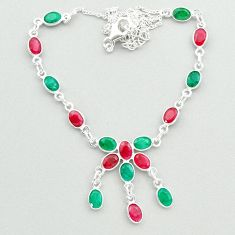 20.33cts natural green emerald red ruby 925 sterling silver necklace t50357