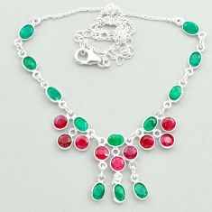 22.09cts natural green emerald red ruby 925 sterling silver necklace t50359