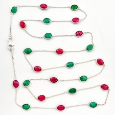 34.98cts natural green emerald ruby 925 sterling silver chain necklace r31500