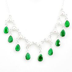 22.13cts natural green emerald white pearl 925 sterling silver necklace r77385