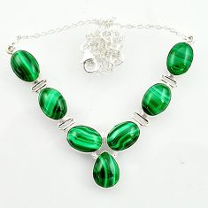 54.46cts natural green malachite (pilot's stone) 925 silver necklace d47374