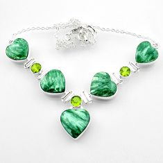 57.28cts natural green seraphinite (russian) peridot 925 silver necklace r52314
