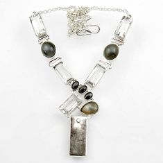 86.18cts natural grey meteorite gibeon moonstone 925 silver necklace r44748