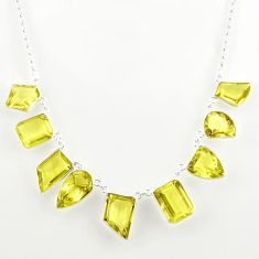61.65cts natural lemon topaz 925 sterling silver necklace jewelry r27599