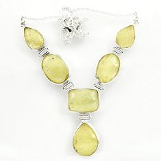 66.73cts natural libyan desert glass (gold tektite) 925 silver necklace r27511
