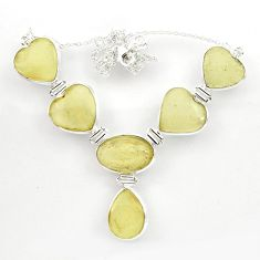 78.38cts natural libyan desert glass (gold tektite) 925 silver necklace r27514