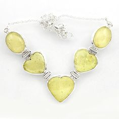 64.19cts natural libyan desert glass (gold tektite) heart silver necklace r27515