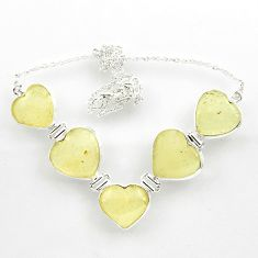 62.48cts natural libyan desert glass (gold tektite) heart silver necklace r27516
