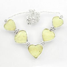 61.59cts natural libyan desert glass (gold tektite) heart silver necklace r27518