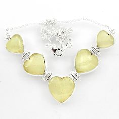 59.85cts natural libyan desert glass (gold tektite) heart silver necklace r27519